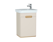 60791 - Sento Washbasin Unit, 50 cm, with doors, without legs, Matte Cream, left