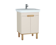 60792 - Sento Washbasin Unit, 65 cm, with doors, with legs, Matte Cream