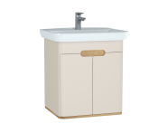 60793 - Sento Washbasin Unit, 65 cm, with doors, without legs, Matte Cream