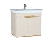 60797 - Sento Washbasin Unit, 80 cm, with doors, without legs, Matte Cream