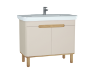 60798 - Sento Washbasin Unit, 100 cm, with doors, with legs, Matte Cream