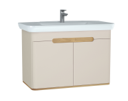 60799 - Sento Washbasin Unit, 100 cm, with doors, without legs, Matte Cream