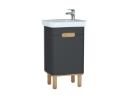 60802 - Sento Washbasin Unit, 50 cm, with doors, with legs, Matte Anthracite, left