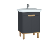 60804 - Sento Washbasin Unit, 65 cm, with doors, with legs, Matte Anthracite