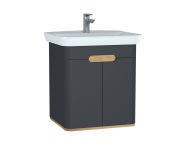 60805 - Sento Washbasin Unit, 65 cm, with doors, without legs, Matte Anthracite