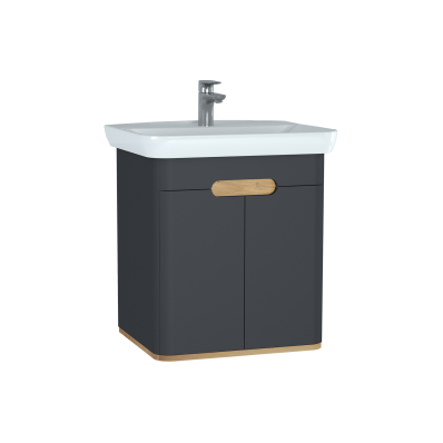 Sento Washbasin Unit, 65 cm, with doors, without legs, Matte Anthracite