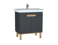 60808 - Sento Washbasin Unit, 80 cm, with doors, with legs, Matte Anthracite