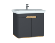60809 - Sento Washbasin Unit, 80 cm, with doors, without legs, Matte Anthracite