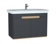 60811 - Sento Washbasin Unit, 100 cm, with doors, without legs, Matte Anthracite