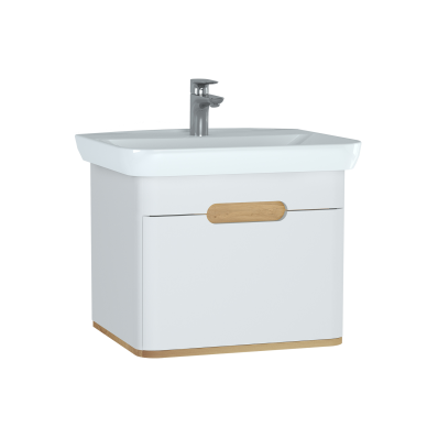 Sento Washbasin Unit, 65 cm, with 1 drawer, without legs, Matte White