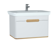 60813 - Sento Washbasin Unit, 80 cm, with 1 drawer, without legs, Matte White