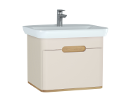 60815 - Sento Washbasin Unit, 65 cm, with 1 drawer, without legs, Matte Cream