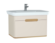 60816 - Sento Washbasin Unit, 80 cm, with 1 drawer, without legs, Matte Cream