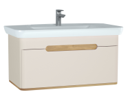60817 - Sento Washbasin Unit, 100 cm, with 1 drawer, without legs, Matte Cream
