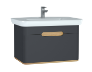 60819 - Sento Washbasin Unit, 80 cm, with 1 drawer, without legs, Matte Anthracite