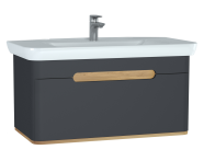 60820 - Sento Washbasin Unit, 100 cm, with 1 drawer, without legs, Matte Anthracite