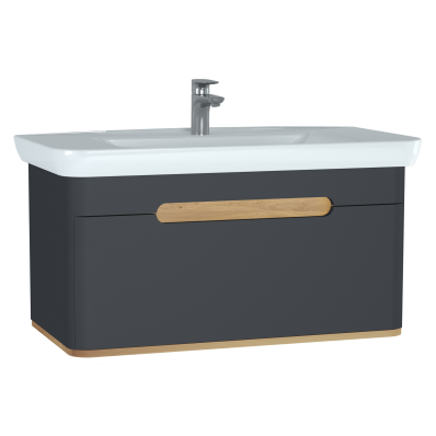 sento washbasin unit  with 1 drawer  100 cm  matte vitra uk Pool Patios Contemporary Contemporary Master Bathrooms
