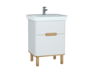 60821 - Sento Washbasin Unit, 65 cm, with 2 drawers, with legs, Matte White