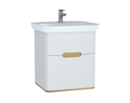60822 - Sento Washbasin Unit, 65 cm, with 2 drawers, without legs, Matte White