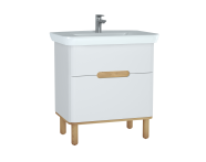 60823 - Sento Washbasin Unit, 80 cm, with 2 drawers, with legs, Matte White