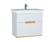 60824 - Sento Washbasin Unit, 80 cm, with 2 drawers, without legs, Matte White