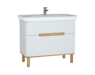 60825 - Sento Washbasin Unit, 100 cm, with 2 drawers, with legs, Matte White