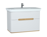 60826 - Sento Washbasin Unit, 100 cm, with 2 drawers, without legs, Matte White