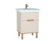 60827 - Sento Washbasin Unit, 65 cm, with 2 drawers, with legs, Matte Cream