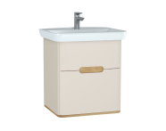 60828 - Sento lavabo dolabı, çift çekmeceli, ayaksız, 65 cm, mat krem
