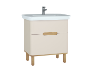 60829 - Sento Washbasin Unit, 80 cm, with 2 drawers, with legs, Matte Cream