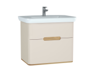 60830 - Sento Washbasin Unit, 80 cm, with 2 drawers, without legs, Matte Cream