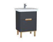 60833 - Sento Washbasin Unit, 65 cm, with 2 drawers, with legs, Matte Anthracite