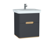 60834 - Sento Washbasin Unit, 65 cm, with 2 drawers, without legs, Matte Anthracite