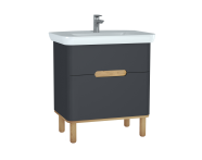 60835 - Sento Washbasin Unit, 80 cm, with 2 drawers, with legs, Matte Anthracite