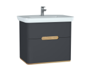 60836 - Sento Washbasin Unit, 80 cm, with 2 drawers, without legs, Matte Anthracite