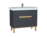60837 - Sento Washbasin Unit, 100 cm, with 2 drawers, with legs, Matte Anthracite