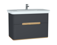 60838 - Sento Washbasin Unit, 100 cm, with 2 drawers, without legs, Matte Anthracite