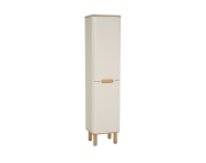 60852 - Sento Tall Unit, 40 cm, with laundry basket, with legs, Matte Cream, left