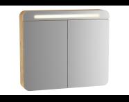60896 - Sento Illuminated Mirror Cabinet, 80 cm, Light Oak