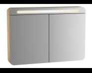 60897 - Sento Illuminated Mirror Cabinet, 100 cm, Light Oak