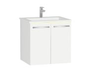 60912 - Ecora Lavabo Dolabı, kapaklı, infinit lavabolu, 60 cm, Parlak Beyaz
