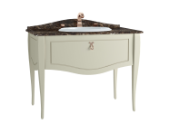 60967 - Elegance Washbasin Unit, 100 cm, with countertop washbasin, without marble, copper handle, Matte Sand Beige