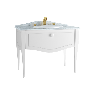 Elegance Washbasin Unit, 100 cm, with countertop washbasin, with marble with 3 faucet holes, chrome handle, Matte White