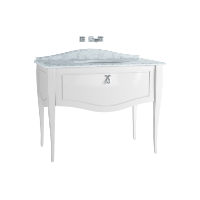 Elegance Washbasin Unit, 100 cm, with undercounter washbasin, without marble, chrome handle, Matte White