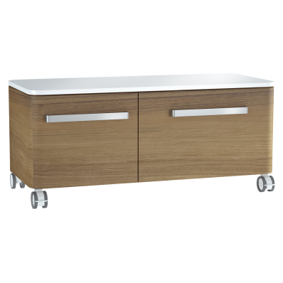 Nest Trendy Low Unit, 100 cm, with 2 drawers, with acryclic trop surface, Waved Natural Wood