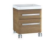 61013 - Nest Trendy Mobile Mid Unit, 45 cm, with 2 drawers, with acryclic tray, Waved Natural Wood