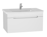 61015 - Folda Washbasin Unit, 80 cm, with vanity washbasin, White High Gloss