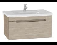 61016 - Folda Washbasin Unit, 80 cm, with vanity washbasin, Oak