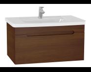 61017 - Folda Washbasin Unit, 80 cm, with vanity washbasin, Walnut