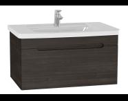 61018 - Folda Washbasin Unit, 80 cm, with vanity washbasin, Grey Oak Decor